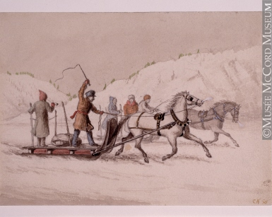 M991X.5.1072 | Winter scene with two racing sleighs | Drawing | Cornelius Krieghoff (1815-1872)