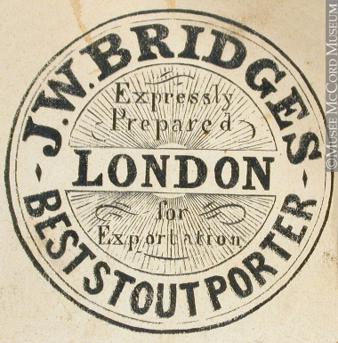 M930.51.1.490 | Commercial label of J. W. Bridges, Best Stout Porter | Engraving | John Henry Walker (1831-1899)